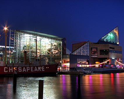 Baltimore, Maryland's Inner Harbor, National Aquarium and Chesapeake Lightboat